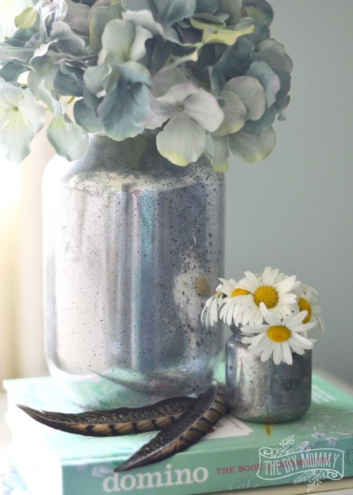 Diy Home Make Faux Mercury Glass Vases From Recycled Jars
