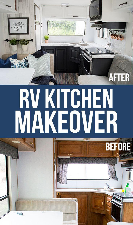 diy home rv camper kitchen makeover with paint peel stick tile wallpaper vi