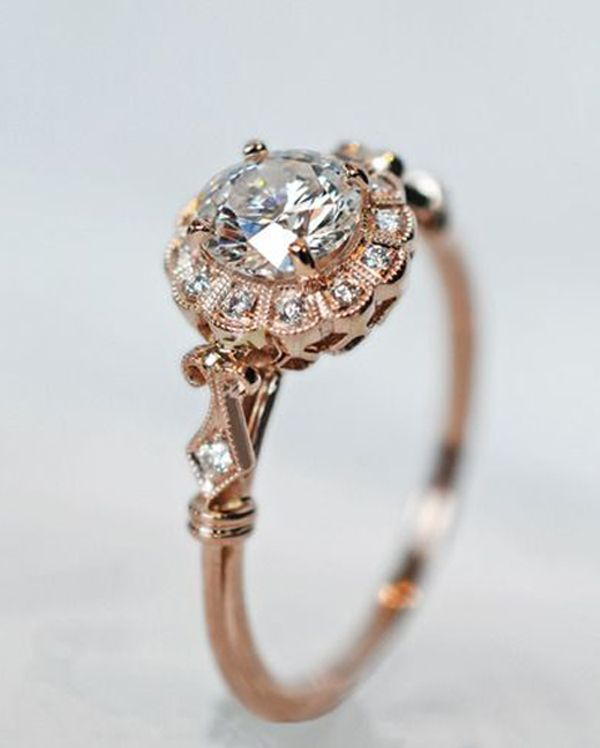 Engagement Rings Wedding Rings Diamond And Rose Gold Antique
