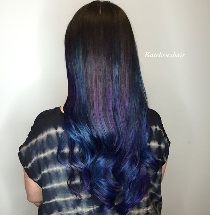 Hair Styles Ideas Dark Brown Hair With Purple And Blue Highlights