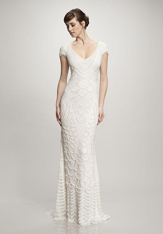 Wedding dresses hand beaded cap sleeve pearl mermaid for Hand beaded wedding dresses