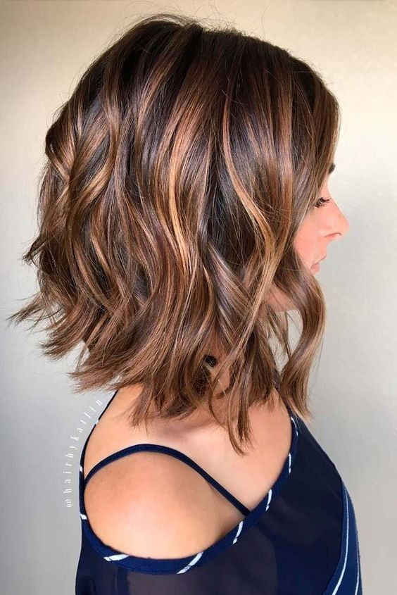 Hair Styles Ideas : Balayage, Curly Lob Hairstyles - Shoulder Length ...