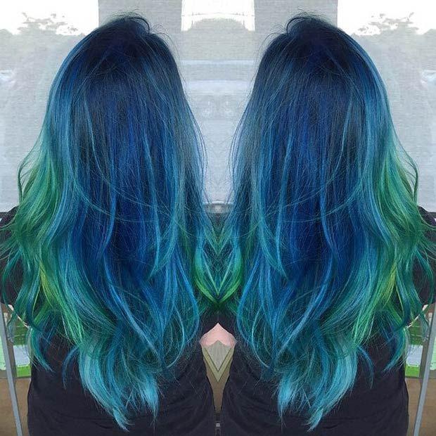 Hair Styles Ideas Dark Blue Hair Green Tips Listfender