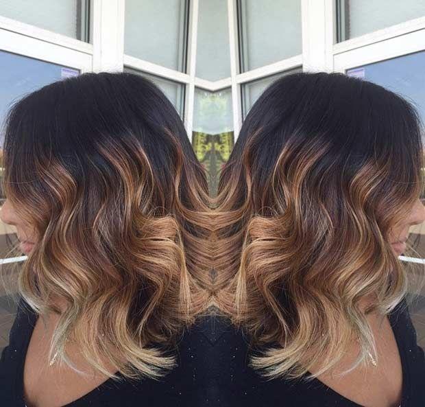 Hair Styles Ideas Golden Caramel Highlights Long Bob Cut