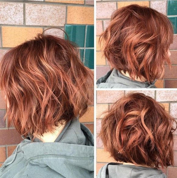 Hair Styles Ideas : Red color and a textured bob haircut - Short ...