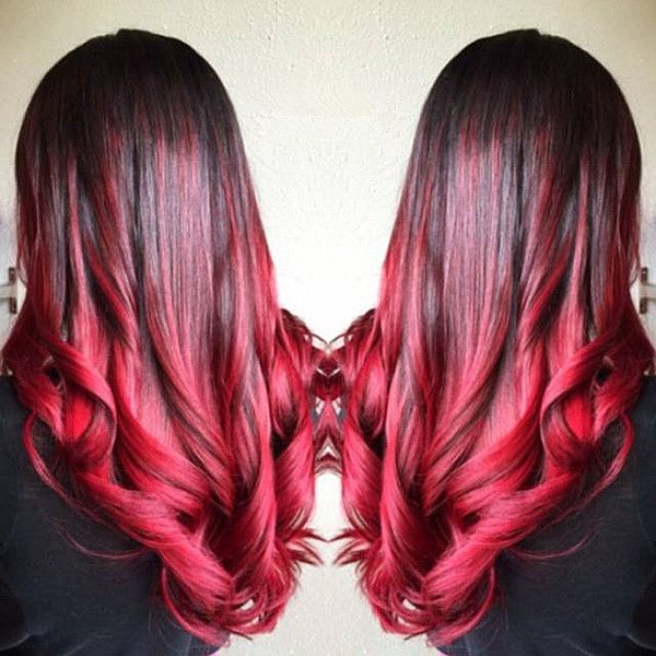 Hair Styles Ideas Bright Red Ombre Hair Color For Black Hair With