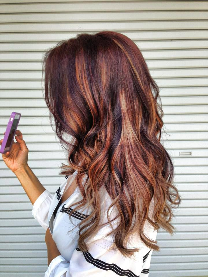 dark brown hair with blonde and red highlights and lowlights