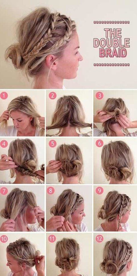Double Braid Updo Hairstyle Tutorial Listfender Leading