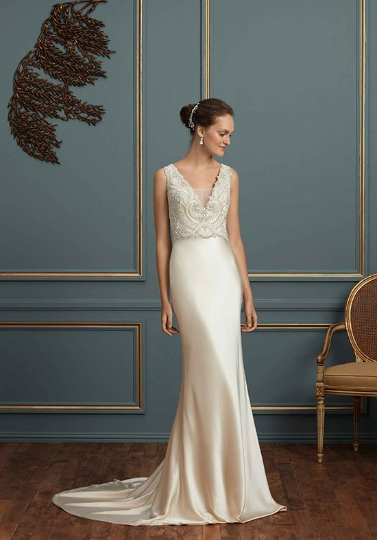 Wedding Dresses Glamorous Beaded Bodice Silk Charmeuse