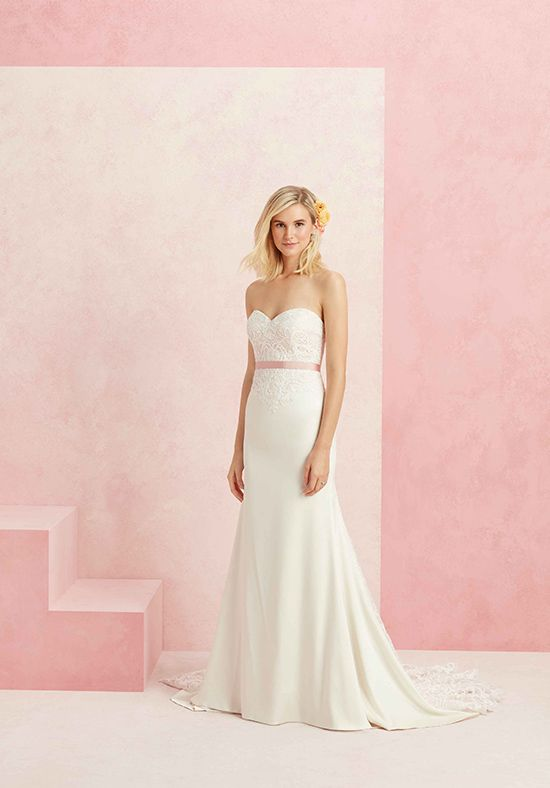Wedding dresses strapless satin and lace gown with blush for Satin belt for wedding dress