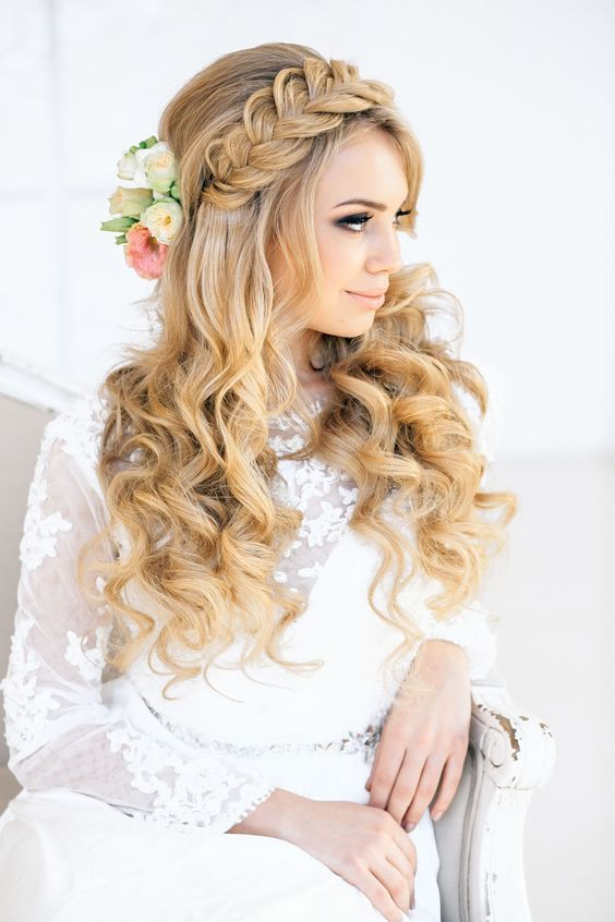 Wedding Hairstyles Braids And Curls Wedding Hairstyle Deer Pearl