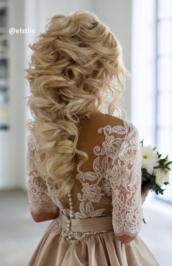 Wedding Hairstyles : Long Curly Wedding hairstyle idea via Elstile ...