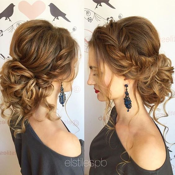 Wedding Hairstyles Side Braid Curly Wedding Updo Hairstyle Via