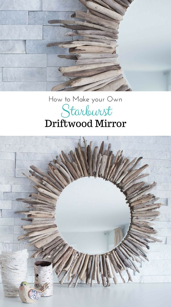 A beautiful rustic round mirror framed by pieces of driftwood. Check ...