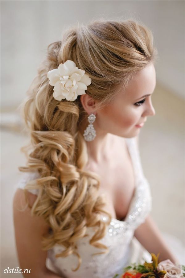 Half Up Half Down Long Cur Ly Wedding Hairstyle With Flower