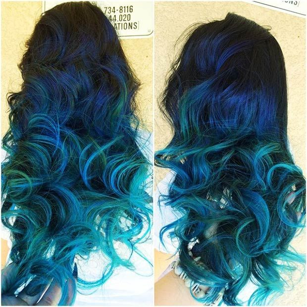 Hair Styles Ideas Dark Blue Hair With Teal Tips Listfender