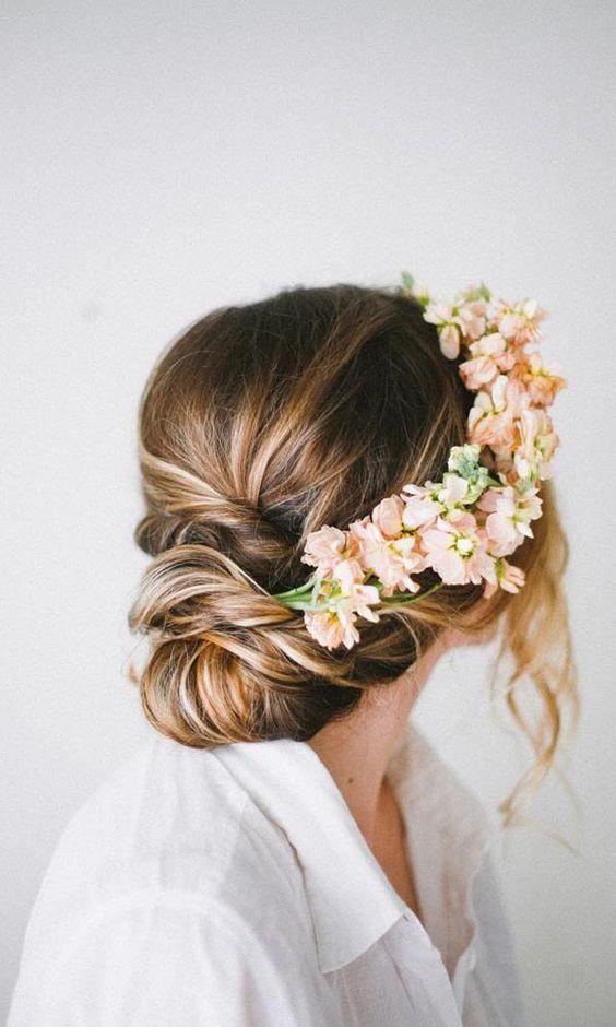 Rustic Updo Wedding Hairstyle Medium Long Hair Floral Elegant