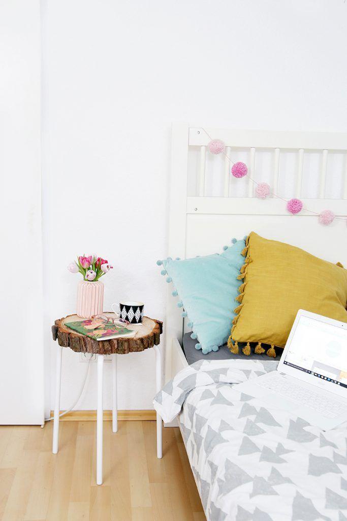 Diy Home Beistelltisch Aus Baumscheibe Und Ikea Hocker