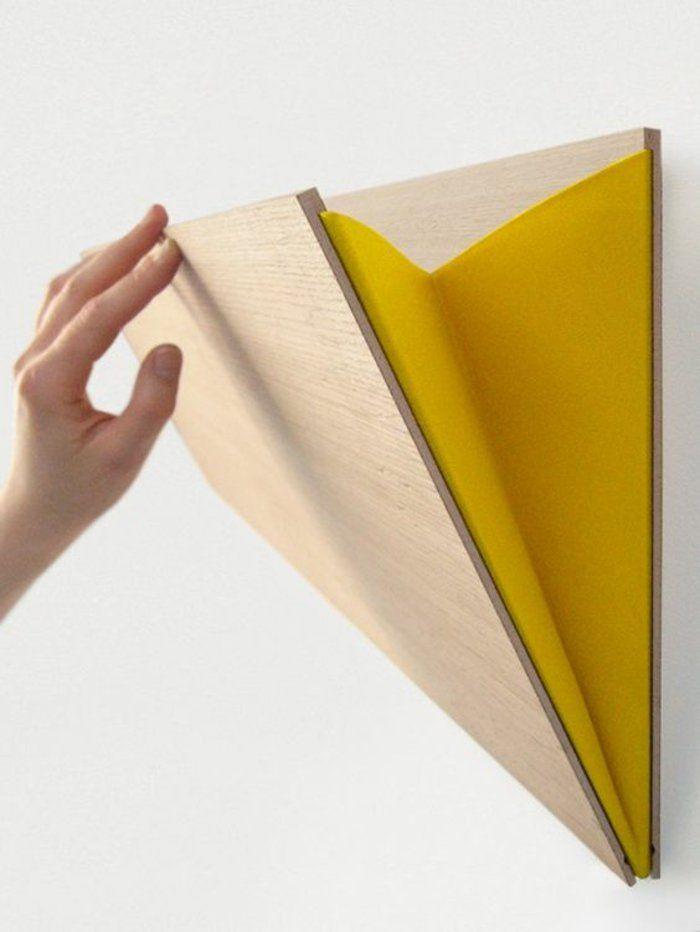 Diy Wandregal Aus Holz Und Gelbem Stoff Arm Wanddeko Idee
