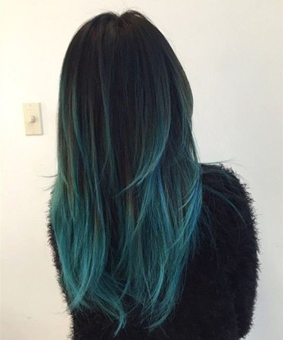 Teal Green Blue Ombre Hair Color