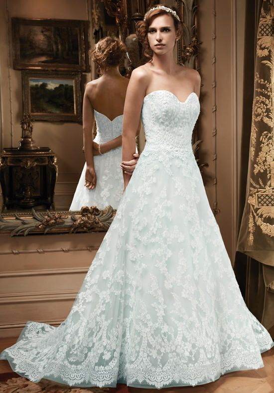 Wedding Dresses Lace A Line With Blue Underlay And Princess