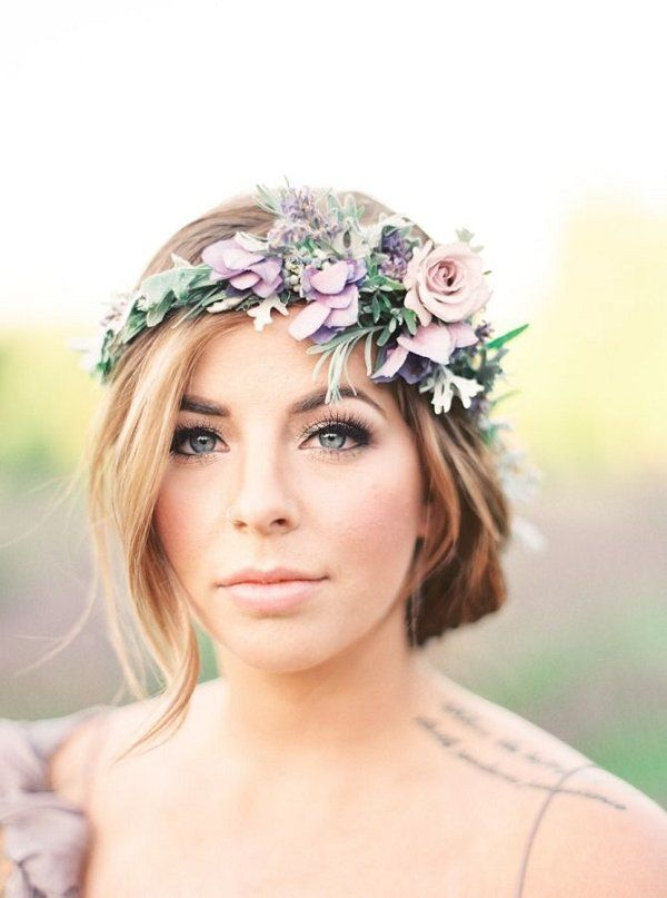 Wedding Hairstyles Simple Wedding Hairstyle With Lavender Floral Crown Www Deerpearlflow Listfender Leading Inspiration Magazine Shopping Trends Lifestyle More