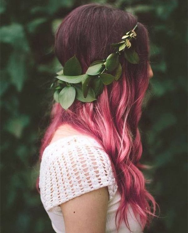 Pink Ombre Balayage Hair Style For Dark Hair Color Listfender