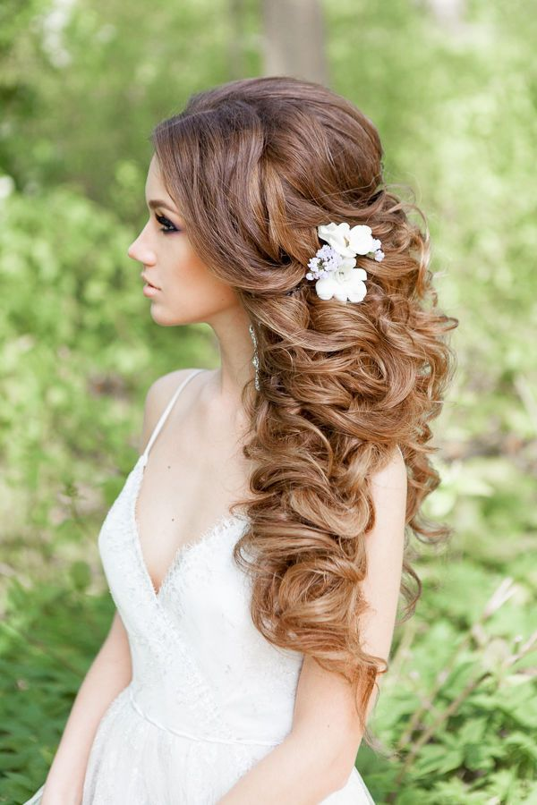 Wedding Hairstyles Half Up Half Down Curly Hairstyle With Flowers