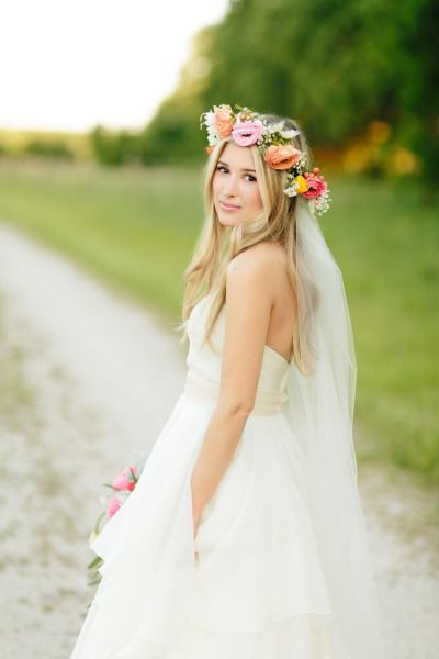 Wedding Hairstyles straight wedding hairstyle with flower crown
